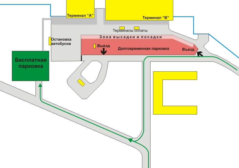 Схема парковок в Омском аэропорту